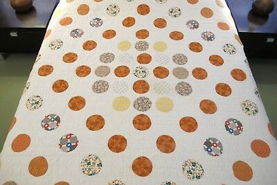 """Vintage Feed Sack Cotton Hand Sewn APPLIQUE MARBLES Quilt, 82"""" x 64""""; Good !"""