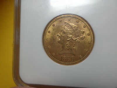 1886 S Coronet Head Gold $10 Eagle New Style Liberty Head - With Motto, NGC MS61