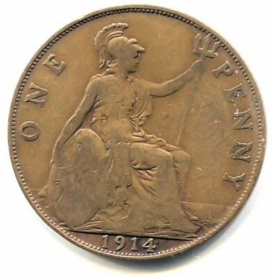 Great Britain 1914 Large One Penny Coin - United Kingdom England King George V