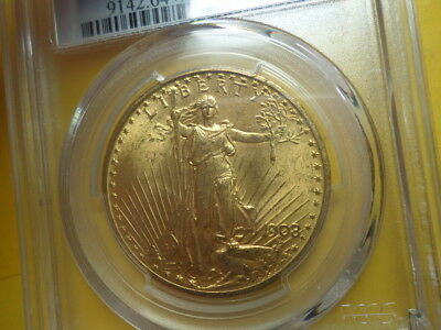 1908 P Saint Gaudens Gold $20 Double Eagle, No Motto - In God We Trust ,MS64+
