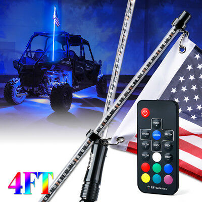 Xprite 4ft Remote Control Flag Pole LED Whip Light w/ RGB Colors for ATV UTV RZR