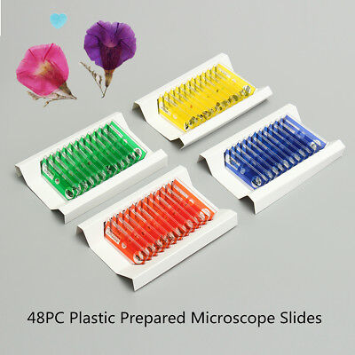 48pcs Kids Plastic Prepared Microscope Slides of Animals Insects Plants Flower