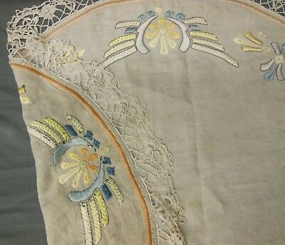 Antique Hand Embroidered Mission Arts & Crafts Linen Tablecloth Topper w/Lace