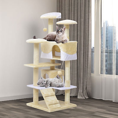 "PawHut 52"" Cat Scratching Tree Large Kitten Play House Pet Activity Center Beige"
