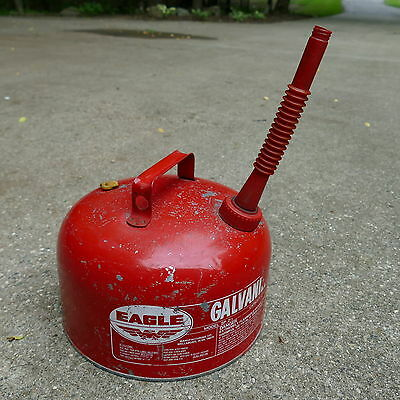 Vintage Eagle Metal Gas Can 2.5 Gallon Galvanized Steel Vented ~ Model SP-2 ½