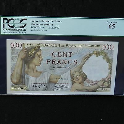 1942 France 100 Francs, Pick # 94, PCGS 65 Gem New