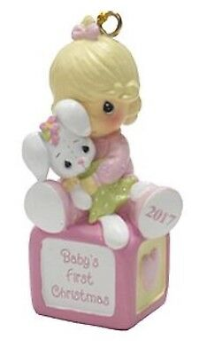 Precious Moments Ornament 2017 Baby's First Christmas with Bunny, NEW, Baby Girl