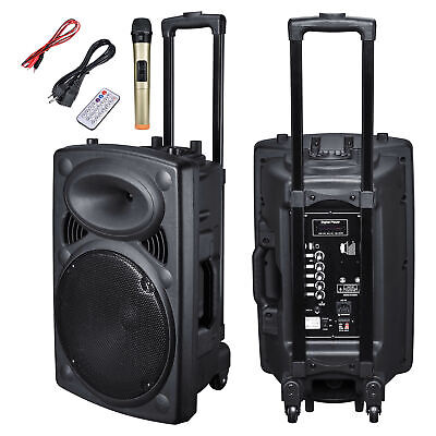 "Portable Rolling 12"" Powered DJ Party PA Speaker w/ Bluetooth USB Remote Control"