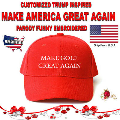Customized MAKE GOLF GREAT AGAIN HAT Trump  PARODY FUNNY EMBROIDERED