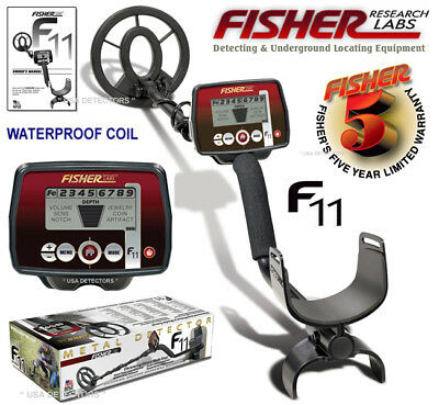 """Fisher F11 Metal Detector With 7"""" Waterproof Search Coil And 5 YEAR WARRANTY !"""