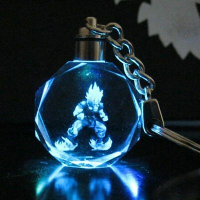 New LED light Dragon Ball Goku Crystal  Key Chain Pendant Decoration