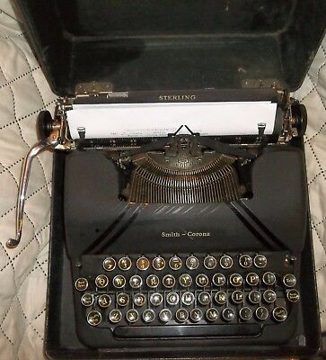 Vintage 1940's Smith Corona Sterling Typewriter w/Floating Shift • Original Case