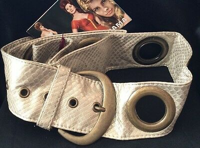 Vintage Fab Mod Barbarella Sexy Gold Faux Snakeskin Brass Feature Wide Belt