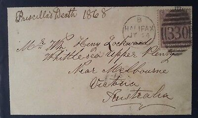 VERY RARE 1868 Great Britain Mourning Cover ties 6d QV stamp canc Halifax