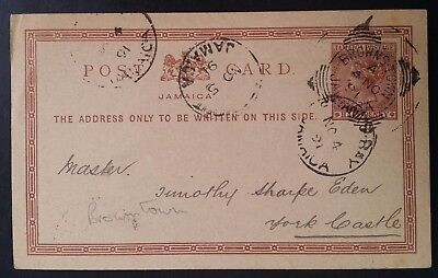 RARE 1891 Jamaica Postcard ties 1/2d brown QV stamp canc Brownstown