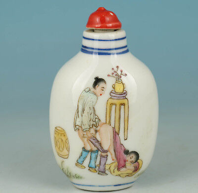 Chinese Old Porcelain Collection Handmade Painting Belle Girl Snuff Bottle