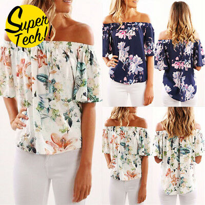 Womens Casual Off Shoulder Blouse Top Short Sleeve Floral Loose Tops T Shirt AU