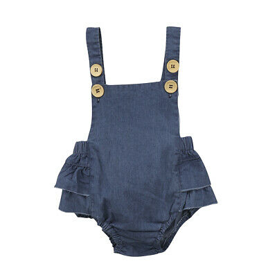 AU Stock Denim Newborn Baby Girls Romper Bodysuit Jumpsuit Clothes Outfits