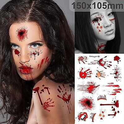 Halloween Zombie Scars Temporary Tattoos Fake Scab Stitches Bite Blood Make Up A