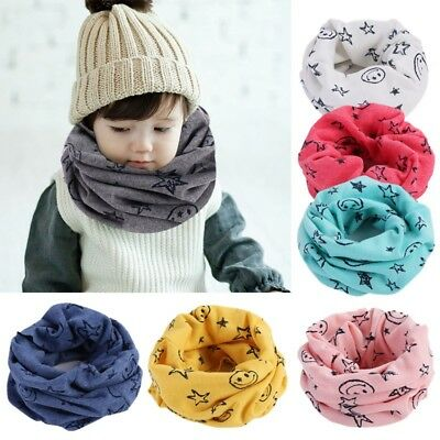 Kids Scarf Winter Soft Cotton Infinity Baby Circle Neck Warmer Snood Scarves