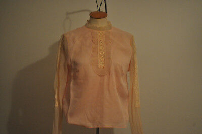 Vintage Blouse Pale Pink Nylon Lacy Frill&ruffle 1950's Style&fit Retro Glam Fab