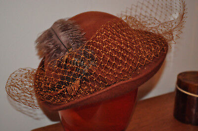 """VINTAGE HAT""""Model by Pauline for Bermona"""" Light Brown Feather&Net Pillbox/Bowler"""