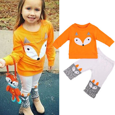 AU Stock 2PCS Infant Baby Girls Boy Fox Sweatshirt T-shirt+Pants Outfits Clothes
