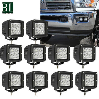 "10x 3""18W LED PODs WORK LIGHT BAR SPOT OFFROAD TRUCK   UTV UTE REVERSING"