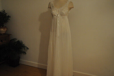 VINTAGE M&S NIGHTDRESS SHEER NYLON in WHITE LACE&RIBBON TRIMS EMPIRE LINE LOVELY