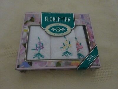 Vintage Retro Set of Ladies Florentina Cotton Embroidered Handkerchiefs