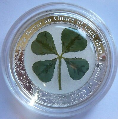 Ounce of Luck Pound of Gold 1oz Silver Coin Real Four Leaf Clover $5 Palau 2018