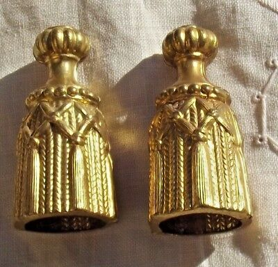 Pair of Vintage Antique French Pulls Curtain cord weight Blind Light pull