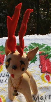 Vintage TAN&RED LEATHER STUFFED CHRISTMAS REINDEER DOLL DECORATION Mid-Century