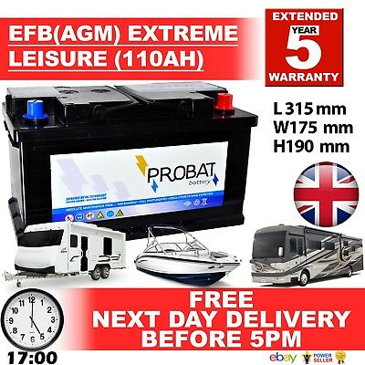 12V 110Ah Efb Agm Leisure Battery Heavy Duty Low Height (100 Ah Amp) 110 Amp