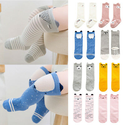 UK Cute Cartoon Cotton Baby Boys Girls Toddler Knee High Socks Ears Anti-Slip PT