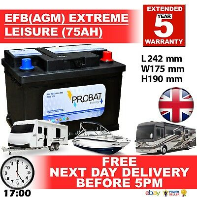 12V 75Ah Efb Agm Leisure Battery Heavy Duty Low Height (75 Ah Amp) 70 Amp 80