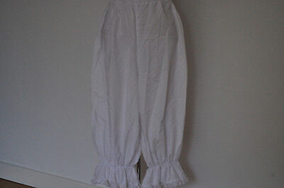 Vintage Bloomers Polycotton White Loose Baggy Fit Lacy Cuff Fancy Dress/party