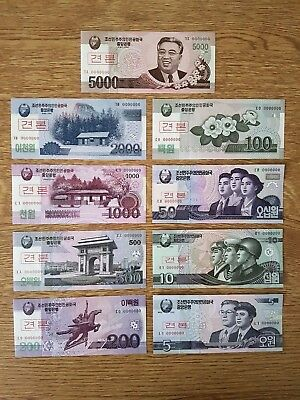 A Set of 9 Specimen Banknotes from Korea - UNC.