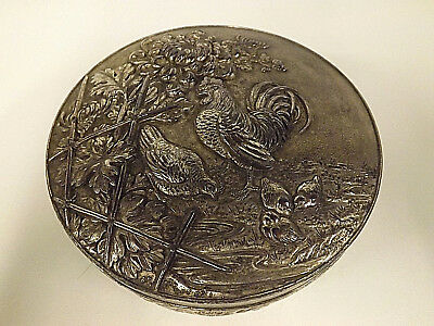 Antique Chinese 19th Century Pewter Box Cast With Chickens & Chrysanthemums