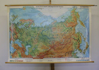 Schulwandkarte Sowjetunion Russland 158x105c ~1989 DDR Russia vintage wall map