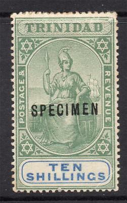 Trinidad 10/- Specimen Stamp c1896-06 Mounted Mint (toning and tiny crease)