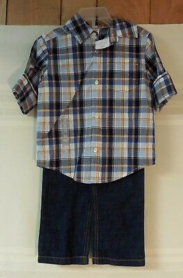 Carter's Boys 2 Piece Toddler Outfits, Plaid Shirt, Jeans Pants. 2T, 3T. NWT