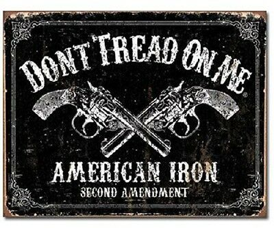 Don't Tread on Me American Iron Second Amendment Revolver Gun Tin Metal Sign New