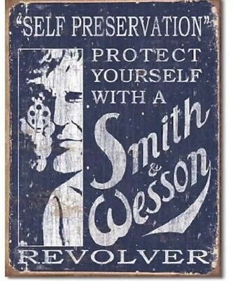 Smith & Wesson Revolvers Gun Ammo Self Preservation Distressed Metal Tin Sign