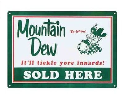 Mountain Dew Soda Sold Here Retro Vintage Tin Sign Man Cave Bar Home Decor