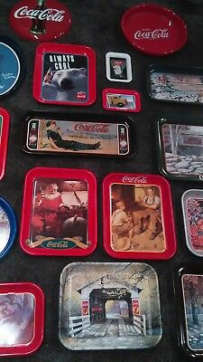 Huge 17Pc Coke 1990s Lot Collectible Trays Jim Harrison Santa and Metal Sign