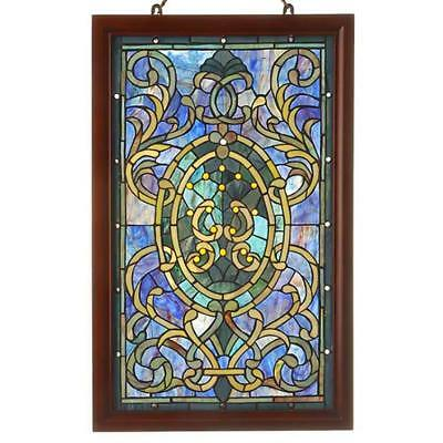 Stained Glass Tiffany Style Window Panel Suncatcher with Wood Frame
