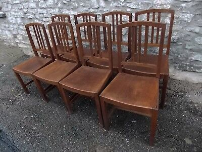 Antique early 20th Century set of 8 CHAIRS oak Arts & Crafts Kitchen dining
