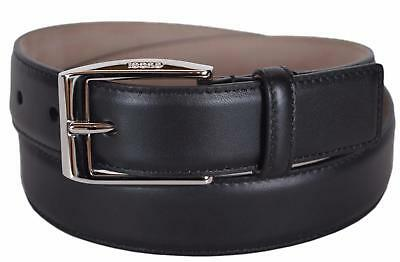 a88ad7f2b04 NEW GUCCI MEN S 336831 Smooth Black Leather Logo Buckle Belt ...