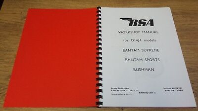 BSA D14/4 Bantam Supreme, Sports & Bushman Workshop Manual 1971 BW22/P 00-4152